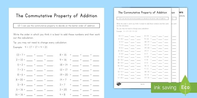 Commutative Property Of Addition Worksheet   Worksheet