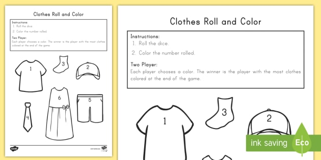 Clothes Roll And Color Worksheet   Worksheet