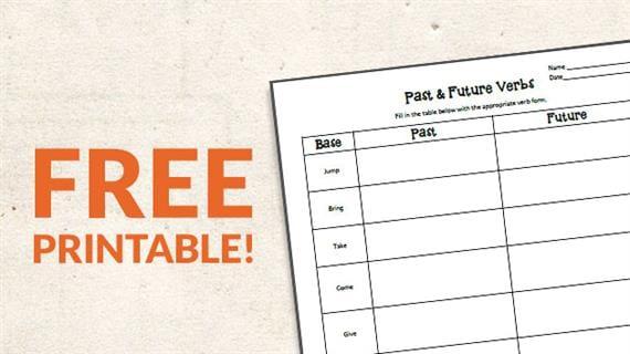 Free Printable  Verb Tense Worksheet (grades K