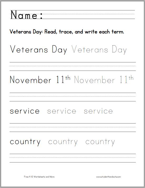 Veterans Day Handwriting Worksheet For K