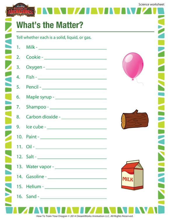 What's The Matter  View – 3rd Grade Science Worksheet – Sod
