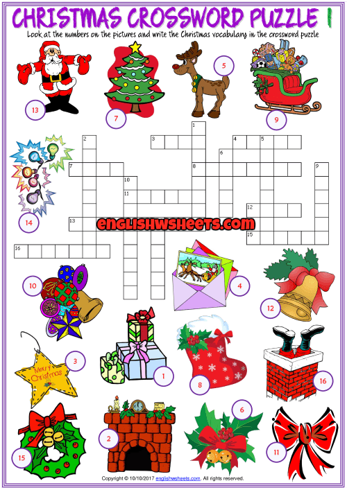 Christmas Crossword Puzzle Esl Printable Worksheets