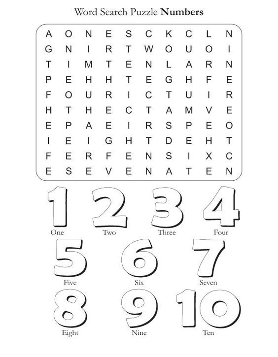 Word Search Puzzle Numbers