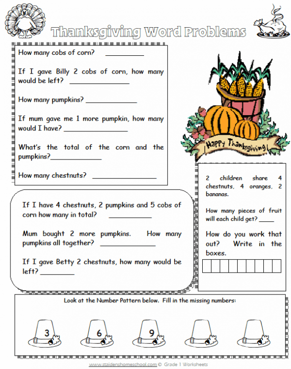 Free Grade 1 Thanksgiving