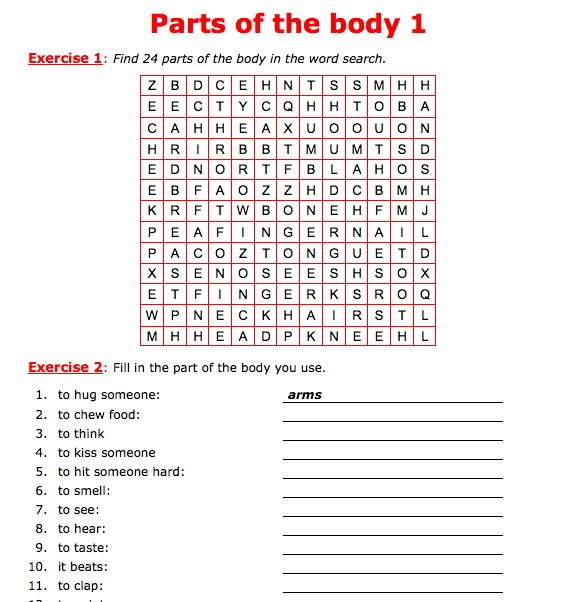 377 Free Appearance Body Parts Worksheets
