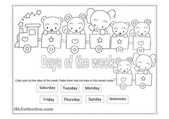 Image Result For Preschool Days Of The Week Worksheets