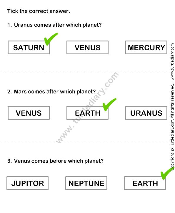 Solar System Worksheet 12