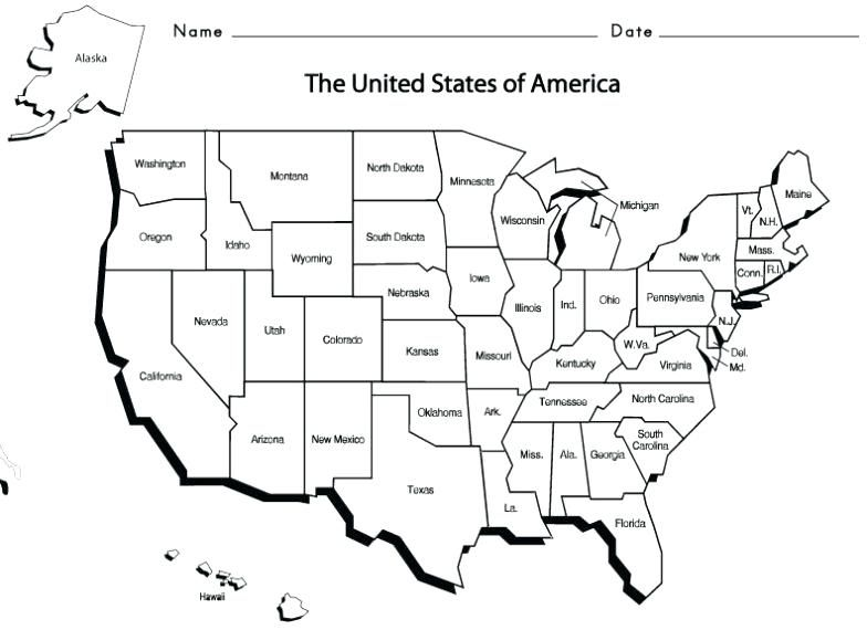 Map Worksheets Us Map With State Names Us States And Capitals