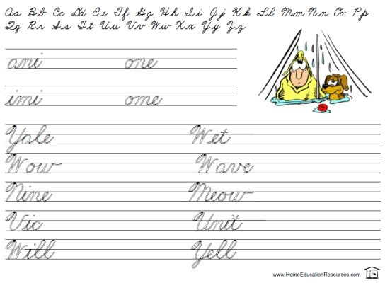 Printable Beginners Cursive Handwriting