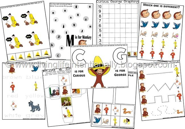 Free Homeschool Printables  Curious George
