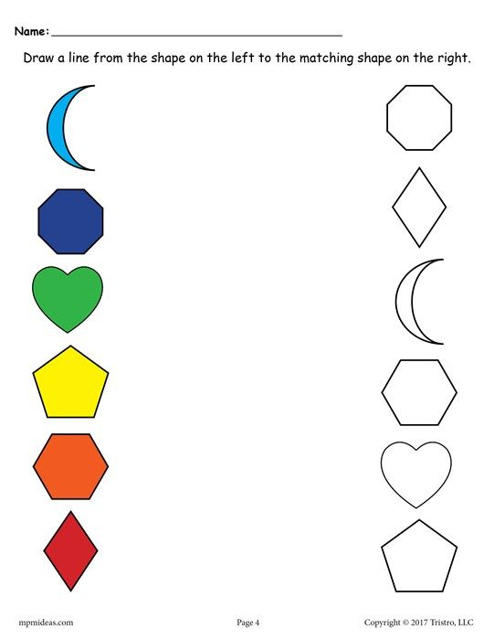 6 Free Shapes Matching Worksheets
