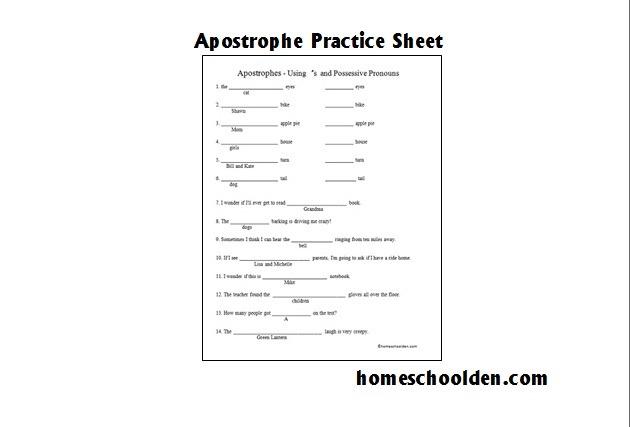 Free Apostrophe Worksheet