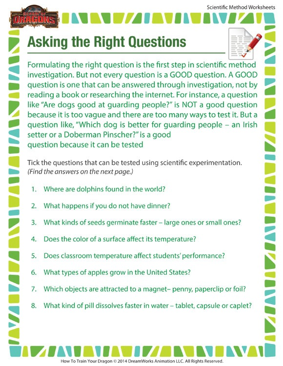 Right Question Worksheet – Scientific Printable For Kids – Sod
