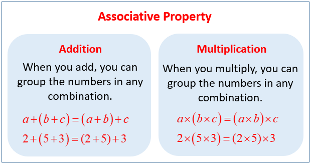 Associative Property (examples, Solutions, Videos, Worksheets