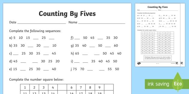 Counting By 5s Worksheet   Worksheet