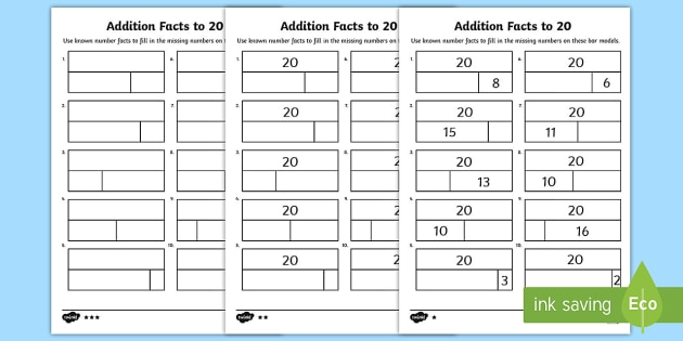 Addition Facts To 20 Worksheet   Worksheets