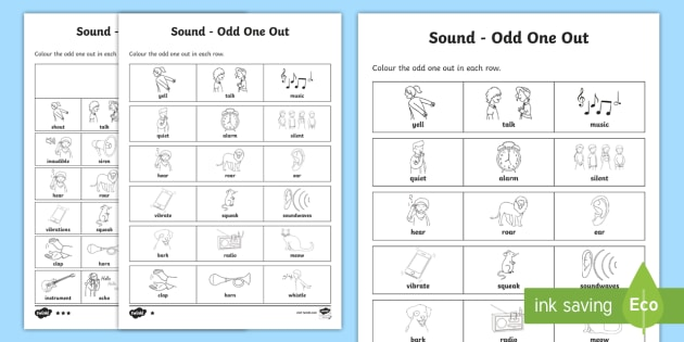 Sounds Odd One Out Differentiated Worksheet   Worksheet