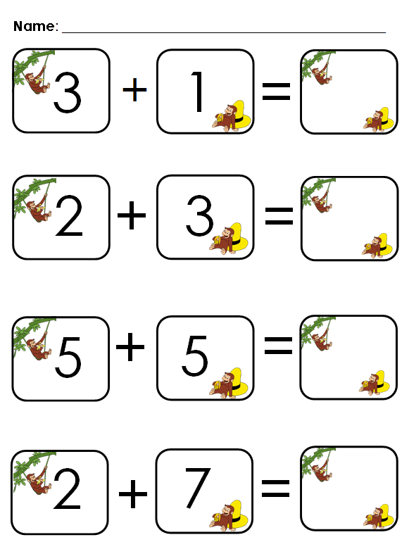 Aloha Kindergarten! Cute Addition Worksheet
