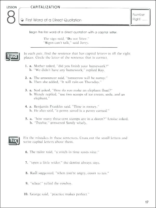 Capitalization Worksheets 4th Grade Punctuation Marks Worksheets