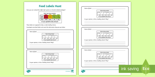 Food Labels Hunt Worksheet