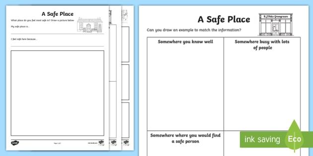 Cfe First Level Safe Places Worksheet   Worksheets