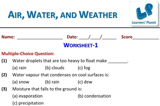 Grade 3 Evs Worksheets On Air Water And Weather Quizzes Video Lectures