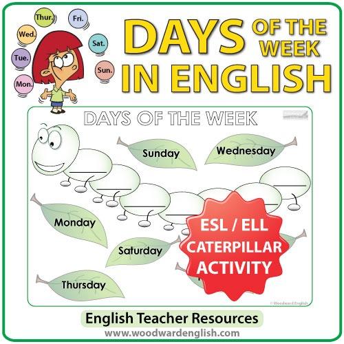 Days Of The Week In English – Caterpillar Worksheet