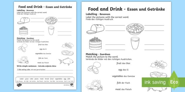 Food And Drink Worksheet   Worksheet English German