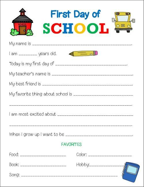 First Day Of School Printable Worksheet