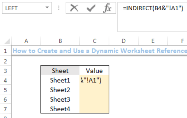 Excel Formula  Dynamic Worksheet Reference