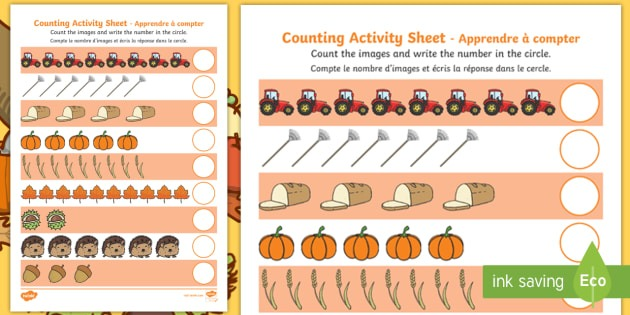 Autumn Counting Worksheet   Worksheet English French