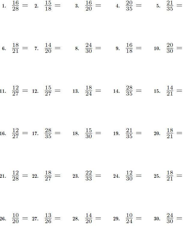 Fractions Worksheet