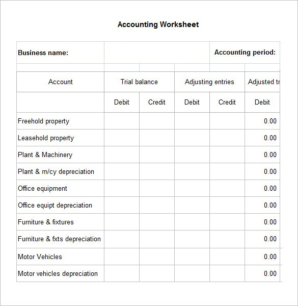 5+ Accounting Worksheet Templates