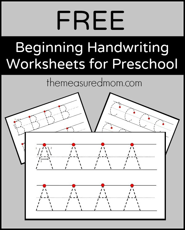 Free Beginning Handwriting Worksheets For Preschool!
