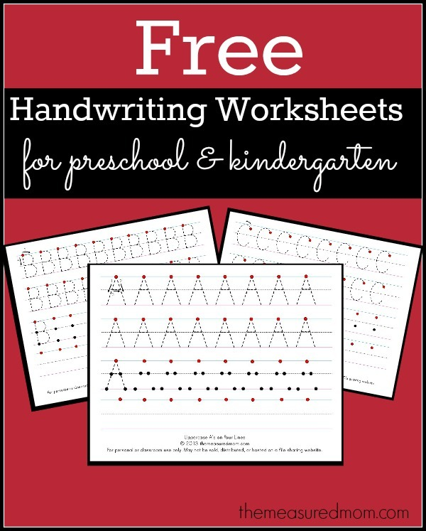Free Printable Handwriting Worksheets For Preschool & Kindergarten