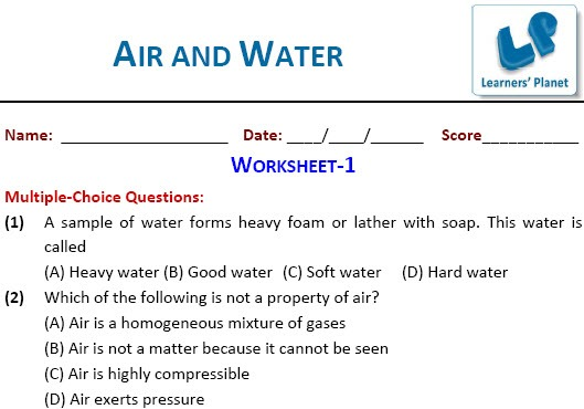Science Online Printable Worksheets Air And Water For Class 6