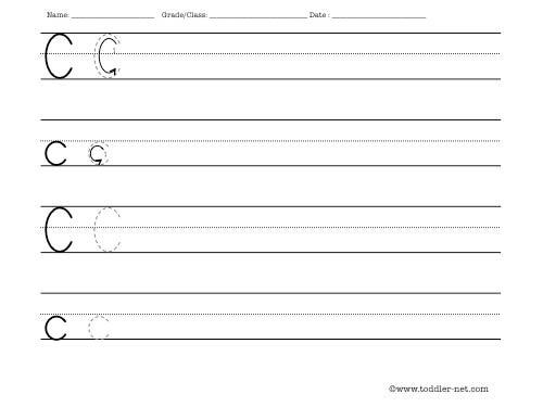 Letter C Writing Worksheet