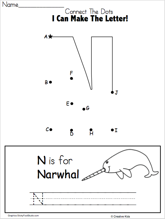 Letter N Writing Worksheet And Dot To Dot (kindergarten And