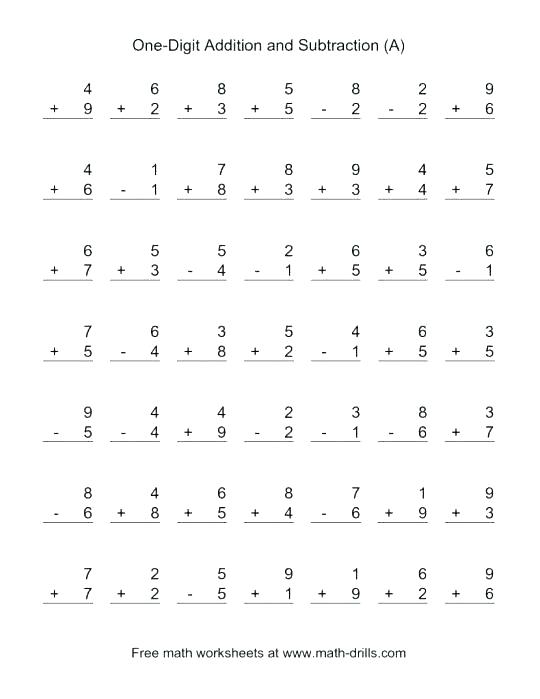 Math And Subtraction Worksheets Grade 1 Math Subtraction