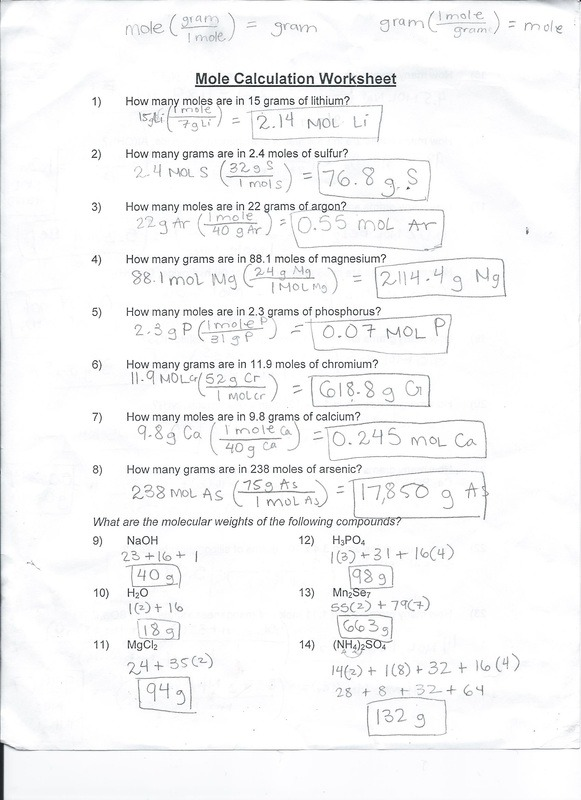 Mole Calculation Worksheet Mole Calculation Worksheet Ivys