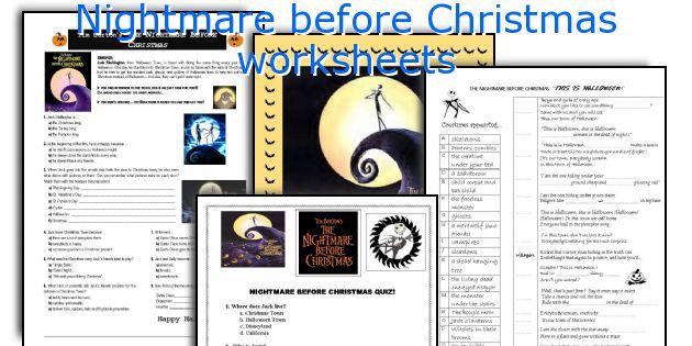 Nightmare Before Christmas Worksheets