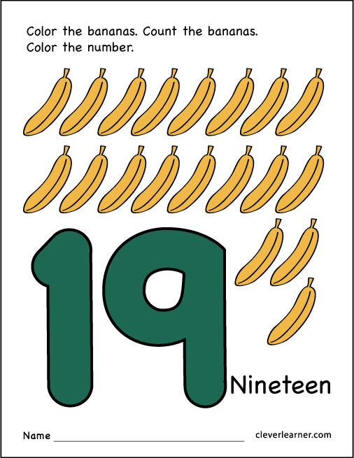 Number 19 Writing, Counting And Identification Printable
