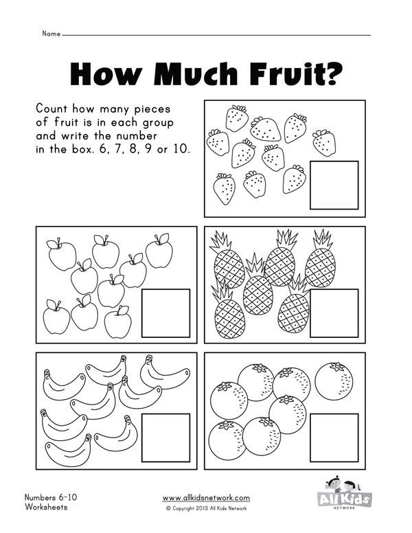 Fruit Counting Practice Worksheet