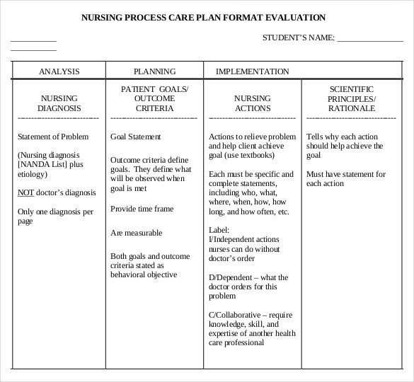 Nursing Care Plan Template
