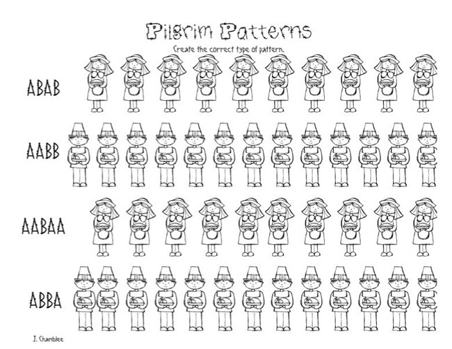 Pilgrim Patterns  Free Kindergarten Worksheet