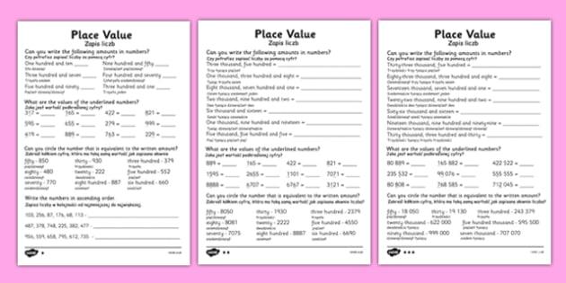 Place Value Worksheet Polish Translation