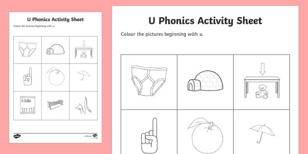 U Phonics Coloring Worksheet   Worksheet