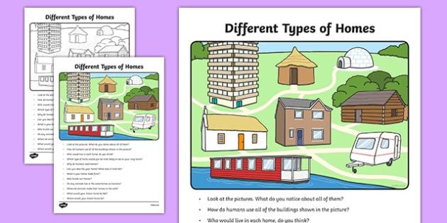 Different Types Of Homes Oral Language Worksheet   Worksheet