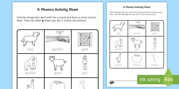 G Phonics Worksheet   Worksheet