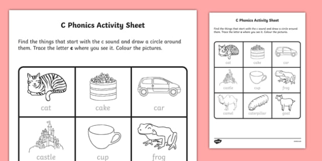 C Phonics Worksheet   Worksheet